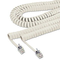 Coiled Phone Cord, Plug/Plug, 25 ft., Ash