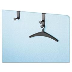 Over-The-Panel Hook with Steel Double-Garment Hanger, 1 3/4 x 6 7/8, Black QRT20702