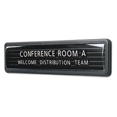 Magnetic Nameplate, Desk/Wall/Door, Black/Dark Gray Base, 13.1 x 3
