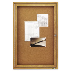 Enclosed Bulletin Board, Natural Cork/Fiberboard, 24 x 36, Oak Frame