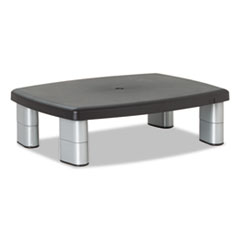 Adjustable Height Monitor Stand, 15 x 12 x 2 5/8 to 5 7/8, Black/Silver