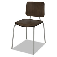 Trento Line Sienna Stacking Wood Chair, Mocha, Stacks 6 High, 2/Carton LITTR508MOC