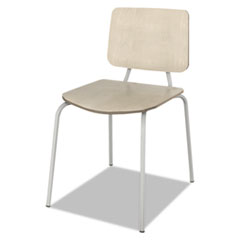 Trento Line Sienna Stacking Wood Chair, Oatmeal, Stacks 6 High, 2/Carton LITTR508OAT