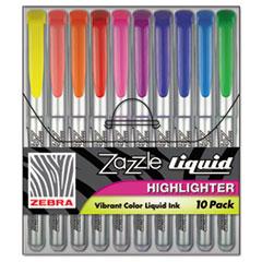 Zazzle Liquid Ink Highlighter, Chisel Tip, Asst Colors, 10/Set