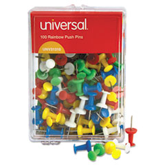 "Colored Push Pins, Plastic, Rainbow, 3/8"", 100/Pack UNV31310"