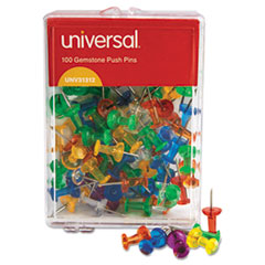 "Colored Push Pins, Plastic, Gemstone, 3/8"", 100/Pack"