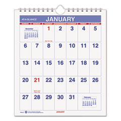 Mini Monthly Wall Calendar, 6 1/2 x 7 1/2, White, 2015