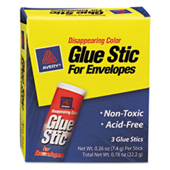 Glue Stic for Envelopes, .26 oz, Stick, 3/Pack