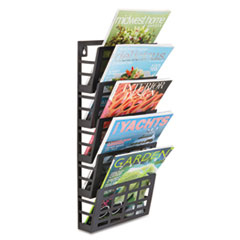 Grid Magazine Rack, Five Compartments, 9-1/2w x 5-1/2d x 21-1/2h, Black