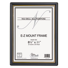 EZ Mount Document Frame with Trim Accent, Plastic, 8-1/2 x 11, Black/Gold NUD11880
