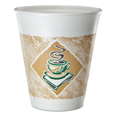 Cafe G Foam Hot/Cold Cups, 8 oz, Brown/Green/White, 25/Pack