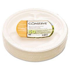 "Conserve Sugar Cane 3 Compartment Plate, 10 1/4"" dia, White, 50/Pack BAU10216"
