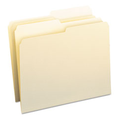 File Folders, 1/2 Cut, One-Ply Top Tab, Letter, Manila, 100/Box SMD10320