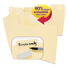 Erasable SuperTab File Folders, Letter, Manila, 24/Set SMD10380