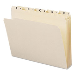 Indexed File Folders, 1/5 Cut, Indexed A-Z, Top Tab, Letter, Manila, 25/Set SMD11777