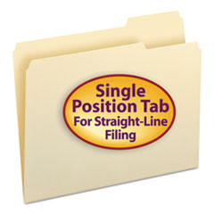 File Folders, 1/3 Cut Third Position, One-Ply Top Tab, Letter, Manila, 100/Box SMD10333