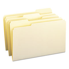 1/3 Cut Assorted Position File Folders, One-Ply Top Tab, Legal, Manila, 100/Box