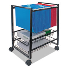 Mobile File Cart w/Sliding Baskets, 12 7/8w x 15d x 21 1/8h, Black
