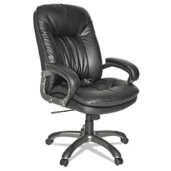 Executive Swivel/Tilt Leather High-Back Chair, Fixed Arched Arms, Black