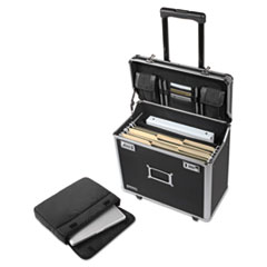 Locking Mobile Rolling Business Case, 10 x 16 x 15, Black