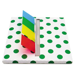 Green Dot Designer Pop-Up Page Flag Dispenser, 4 Pads of 35 Flags Each