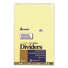 Post Binder Insertable Tab Dividers, 6-Tab, 11 x 17