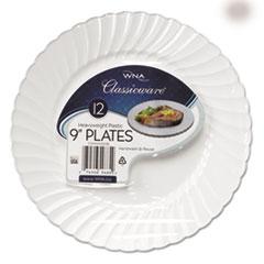 "Classicware Plastic Dinnerware Plates, 9"" Dia, White, 12/Pack WNARSCW91512WPK"