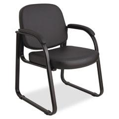 Alera Genaro Series Sled Base Guest Chair, Black Vinyl