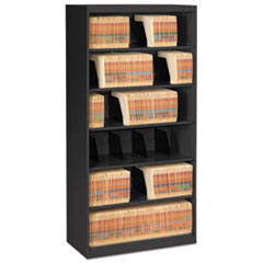 Open Fixed Shelf Lateral File, 36w x 16 1/2d x 75 1/4, Black