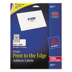 Color Printing Mailing Labels, 1 1/4 x 2 3/8, White, 450/Pack