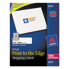 Color Printing Mailing Labels, 1 1/4 x 3 3/4, White, 300/Pack
