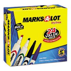 Marks-A-Lot Desk/Pen-Style Dry Erase Marker, Chisel/Bullet Tip, Assorted, 24/PK