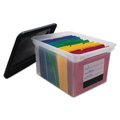 File Tote with Contents Label, Letter/Legal, Clear/Black