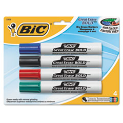 Great Erase Bold Tank-Style Dry Erase Marker, Chisel Tip, Assorted, 4/Pack