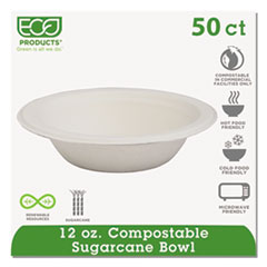 Compostable Sugarcane Dinnerware, 12oz Bowl, Natural White, 50/Pack ECOEPBL12PK