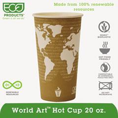 World Art Renewable Resource Compostable Hot Drink Cups, 20oz, Tan, 50/Pack ECOEPBHC20WAPK