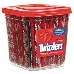 Strawberry Twizzlers Licorice, Individually Wrapped, 180/Tub, 57.5 oz Tub TWZ884064