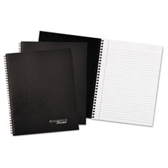 Wirebound Business Notebook, 7 1/4 x 9 1/2, Black Cover, 80 Sheets, 3/Pack