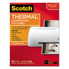 Letter Size Thermal Laminating Pouches, 5 mil, 11 1/2 x 9, 50/Pack