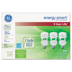 Energy Smart Compact Fluorescent Spiral Light Bulb, 20 W, Soft White, 3/Pack