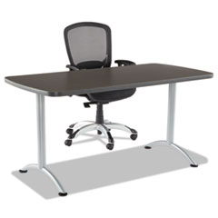 ARC Sit-to-Stand Tables, Rectangular Top, 30w x 60d x 42h, Gray Walnut/Silver
