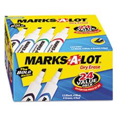 Desk Style Dry Erase Marker, Chisel Tip, Assorted, 24/Pack