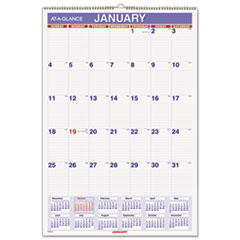 Monthly Wall Calendar with Ruled Daily Blocks, 15 1/2 x 22 3/4, White, 2015