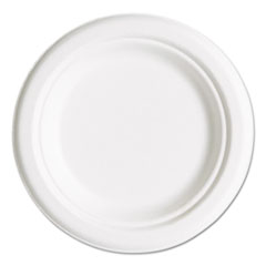 "Compostable Sugarcane Dinnerware, 6"" Plate, Natural White, 50/Pack ECOEPP016PK"