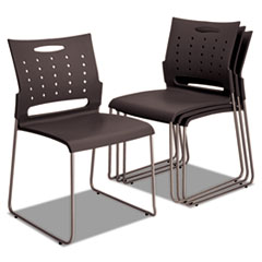Alera Continental Series Perforated Back Stacking Chairs, Charcoal Gray, 4/CT