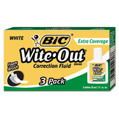 Wite-Out Extra Coverage Correction Fluid, 20 ml Bottle, White, 3/Pack