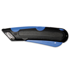Easycut Cutter Knife w/Self-Retracting Safety-Tipped Blade, Black/Blue COS091508