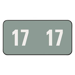 Year 2017 End Tab Folder Labels, 1 x 1/2, Gray/White, 250 Labels/Pack