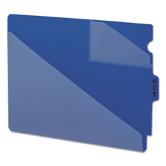 Out Guides w/Diagonal-Cut Pockets, Poly, Letter, Blue, 50/Box