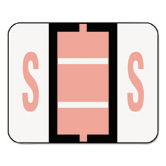 A-Z Color-Coded Bar-Style End Tab Labels, Letter S, Pink, 500/Roll